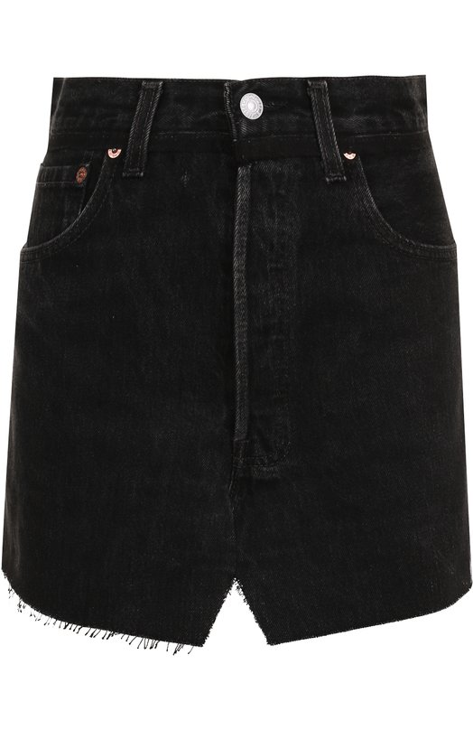 Купить Джинсовая мини-юбка с потертостями Vetements, WAH18SK1, Франция, Черный, Хлопок: 100%;