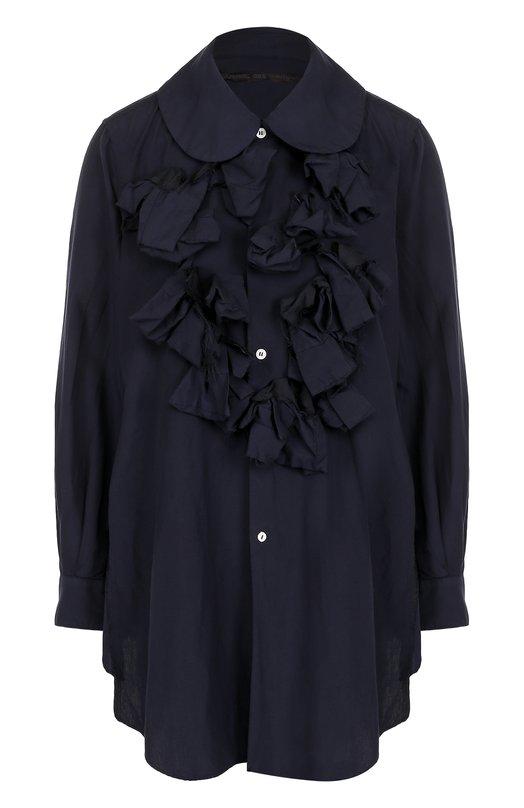 Купить Однотонная блуза свободного кроя с оборками Comme des Garcons, GT-B026-051, Япония, Синий, Полиэстер: 100%;