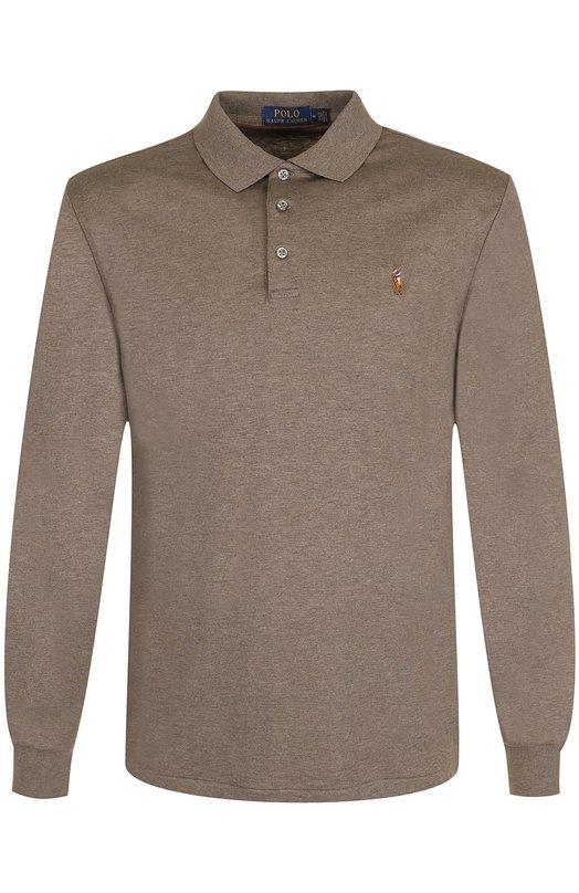 Купить Хлопковое поло с длинными рукавами Polo Ralph Lauren, 710671785, Вьетнам, Бежевый, Хлопок: 100%;
