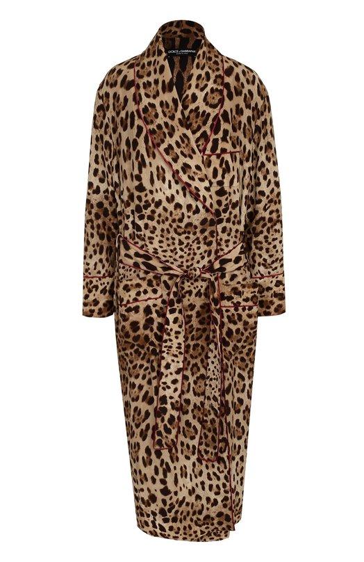 Купить Шелковое пальто с леопардовым принтом и поясом Dolce & Gabbana, 0102/F0R74T/FS1SY, Италия, Леопардовый, Шелк: 100%; Подкладка-полиэстер: 100%;