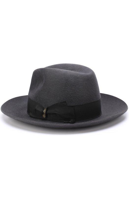 Купить Фетровая шляпа с лентой Borsalino, 110836, Италия, Темно-серый, Подкладка-вискоза: 50%; Подкладка-ацетат: 50%; Фетр/кролик/: 100%;