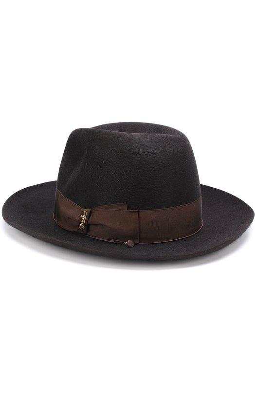 Купить Фетровая шляпа с лентой Borsalino, 110836, Италия, Темно-коричневый, Подкладка-вискоза: 50%; Подкладка-ацетат: 50%; Фетр/кролик/: 100%;
