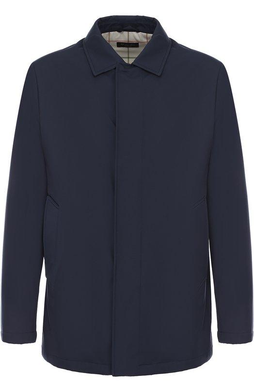 Купить Утепленная куртка на молнии с отложным воротником Loro Piana, FAG3164, Италия, Темно-синий, Подкладка-полиэстер: 50%; Подкладка-эластан (полиуретан): 5%; Подкладка-полиамид: 45%; Полиамид: 100%;