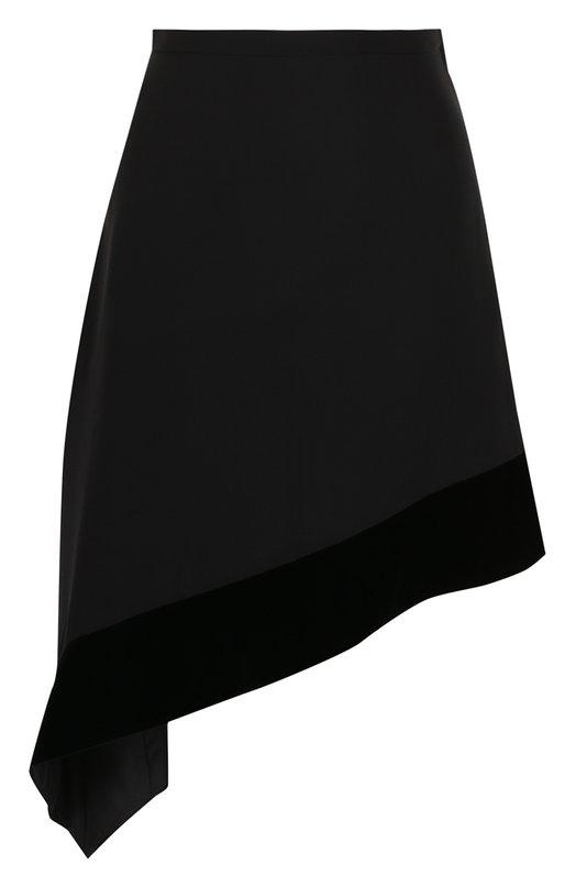 Шелковая юбка асимметричного кроя с бархатной отделкой Lanvin