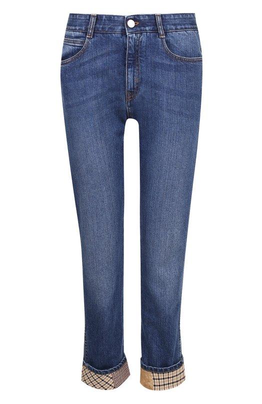 Купить Укороченные джинсы с потертостями и отворотами Stella McCartney, 372773/SJH12, Италия, Синий, Хлопок: 98%; Эластан: 2%;