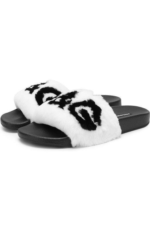 Купить Шлепанцы с отделкой из меха кролика Dolce & Gabbana, 0112/CW0047/AM806, Италия, Белый, Подошва-резина: 100%; Мех/кролик/: 100%; Стелька-резина: 100%;