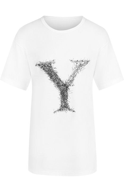 Купить Хлопковая футболка с принтом Yohji Yamamoto, NK-T53-072, Япония, Белый, Хлопок: 100%;