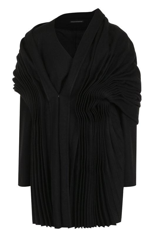 Купить Шерстяной жакет с драпировкой Yohji Yamamoto, FK-J04-110, Япония, Черный, Шерсть: 60%; Полиэстер: 34%; Полиакрил: 3%; Полиамид: 3%;