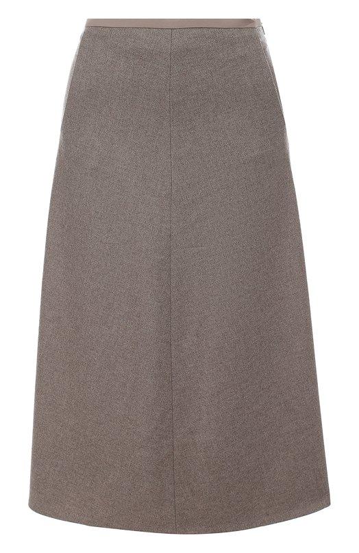 Купить Кашемировая юбка-миди с карманами Loro Piana, FAG3337, Италия, Темно-бежевый, Кашемир: 93%; Шелк: 5%; Эластан: 2%;