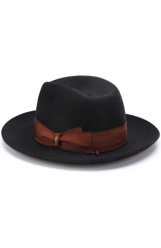 Купить Фетровая шляпа с лентой Borsalino, 110836, Италия, Черный, Подкладка-вискоза: 50%; Подкладка-ацетат: 50%; Фетр/кролик/: 100%;