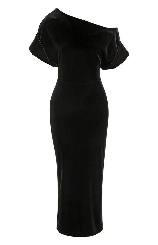 Приталенное бархатное платье с открытым плечом Christopher Kane