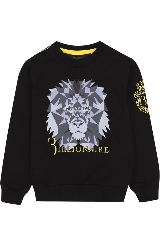 Купить Хлопковый свитшот с принтом и вышивкой Billionaire, 017C BJ0_0025 BTE012N/4-10, Турция, Черный, Хлопок: 95%; Эластан: 5%;
