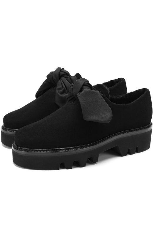 Купить Замшевые ботинки Fabula с внутренней отделкой из овчины Steiger, FABULA/1383C/CAM0SCI0, Италия, Черный, Подошва-резина: 100%; Замша натуральная: 100%; Стелька-овчина: 100%;