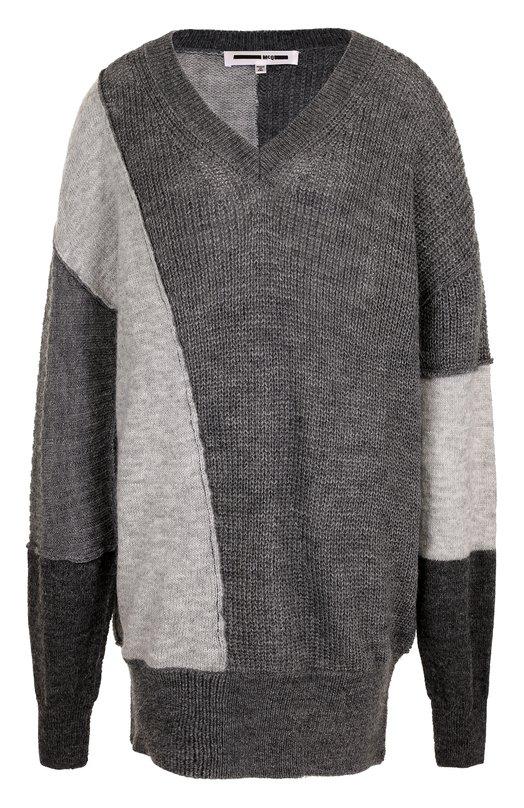 Купить Удлиненный пуловер свободного кроя с V-образным вырезом MCQ, 472951/RIK51, Китай, Серый, Полиэстер: 45%; Шерсть альпака: 40%; Акрил: 36%; Полиамид: 28%; Мохер: 18%; Шерсть: 15%;