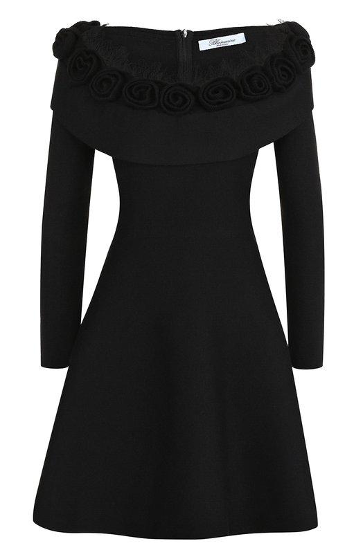 Купить Приталенное мини-платье с длинным рукавом Blumarine, 12018, Италия, Черный, Шелк: 96%; Эластан: 4%; Отделка-шерсть: 100%;
