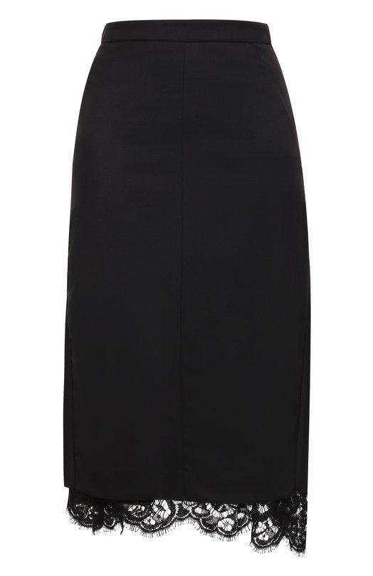 Купить Шерстяная юбка-миди с кружевной вставкой Dorothee Schumacher, 640205, Польша, Черный, Шерсть: 98%; Подкладка-ацетат: 60%; Подкладка-вискоза: 40%; Эластан: 2%;