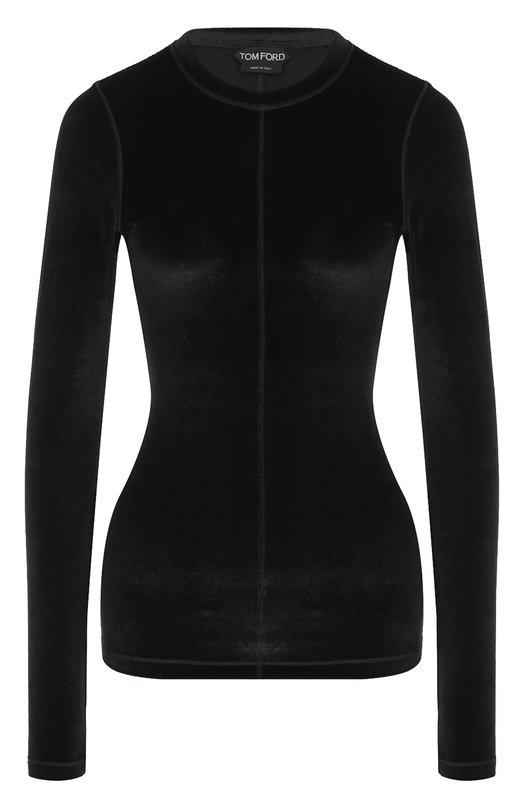 Купить Бархатный приталенный пуловер Tom Ford, TSJ196-FAX227, Италия, Черный, Эластан: 9%; Вискоза: 71%; Полиамид: 20%;