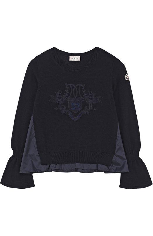 Купить Шерстяной свитер с декоративной отделкой Moncler Enfant, C2-954-90525-55-9699D/8-10A, Украина, Темно-синий, Шерсть: 100%; Отделка-полиамид: 100%;