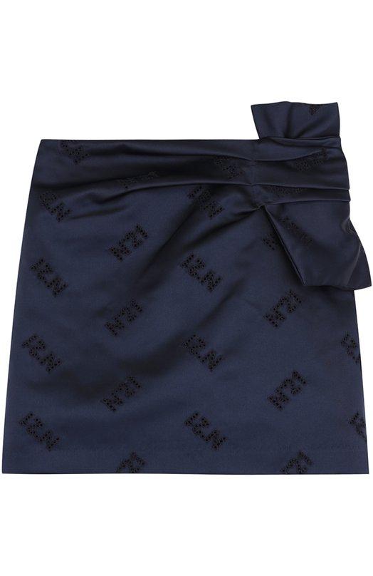 Купить Мини-юбка из полиэстера с бантом No. 21, 27 X/K303/6463/34-44, Италия, Темно-синий, Подкладка-ацетат: 60%; Подкладка-вискоза: 40%; Полиэстер: 100%;