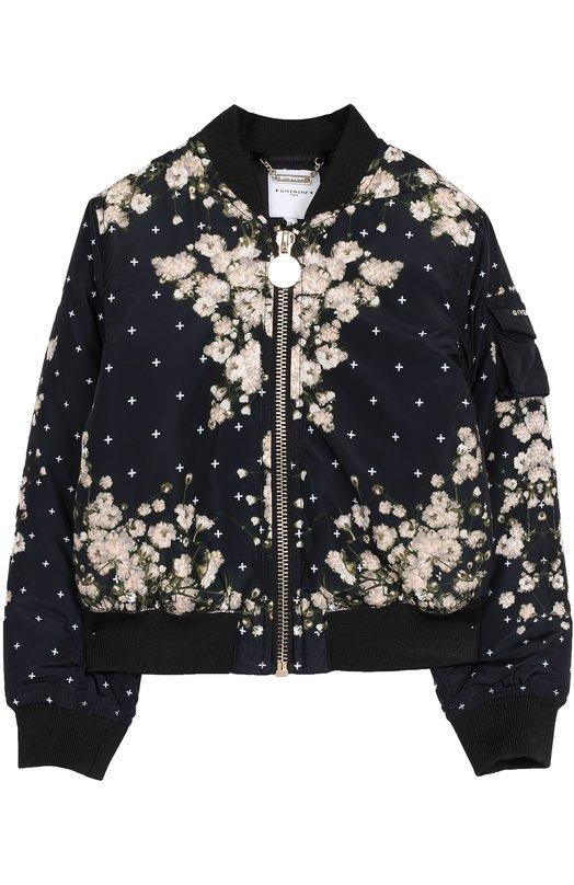 Купить Бомбер с принтом Givenchy, H16005, Китай, Черный, Отделка-хлопок: 98%; Отделка-эластан: 2%; Полиэстер: 100%; Подкладка-полиэстер: 100%;