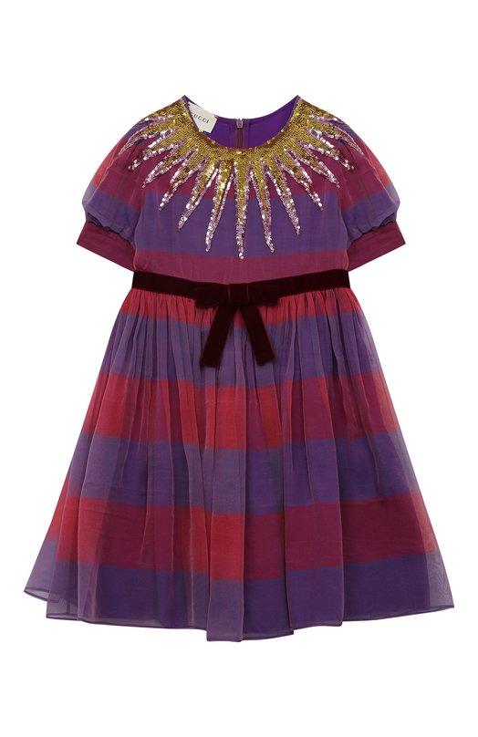 Купить Шелковое платье с бархатным поясом и пайетками Gucci Италия 5204845 471135/ZB649
