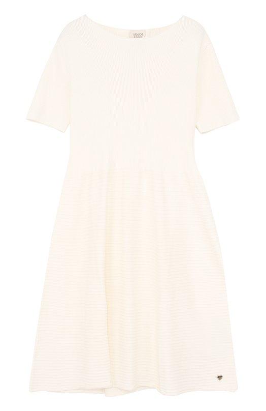 Купить Приталенное платье-миди из вискозы и полиэстера Armani Junior, 6Y3A72/3MFLZ/11A-16A, Китай, Белый, Вискоза: 72%; Полиэстер: 28%;