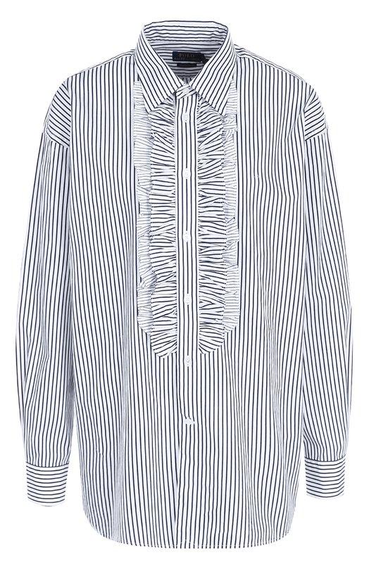 Купить Хлопковая блуза в полоску с оборками Polo Ralph Lauren, 211670759, Китай, Голубой, Хлопок: 100%;