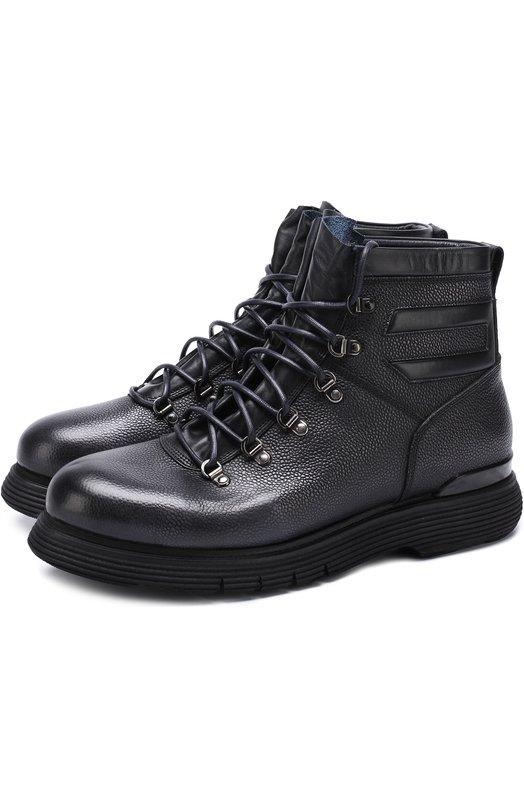 Купить Высокие кожаные ботинки на шнуровке с внутренней меховой отделкой W.Gibbs, 0260001/CHICC0 RIS0, Италия, Темно-синий, Кожа натуральная: 100%; Подошва-резина: 100%; Подкладка-кожа: 100%; Стелька-овчина: 100%; Подкладка-мех/овчина/: 100%; Кожа: 100%; Низ-мех/о