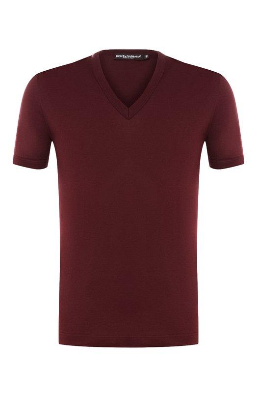 Хлопковая футболка с V-образным вырезом Dolce & Gabbana, 0101/G8HL7T/FU7EQ, Италия, Бордовый, Хлопок: 100%;  - купить
