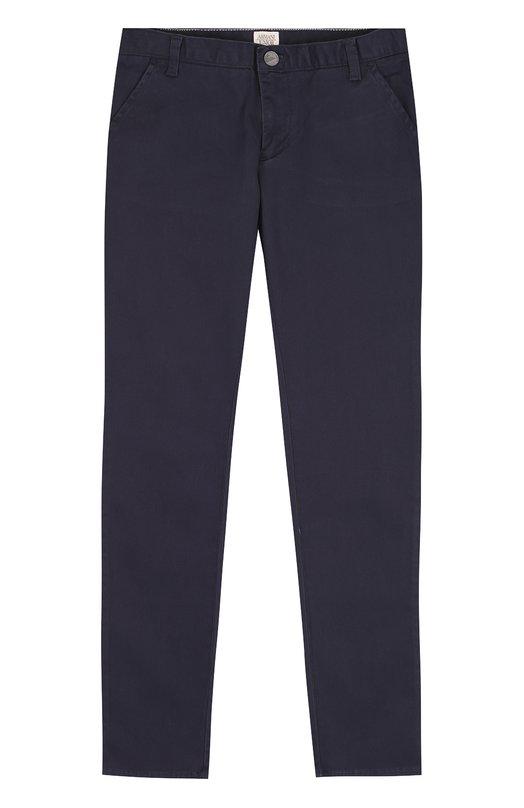 Купить Хлопковые брюки прямого кроя Armani Junior, 6Y4P09/4NEQZ/11A-16A, Камбоджа, Темно-синий, Хлопок: 98%; Эластан: 2%;