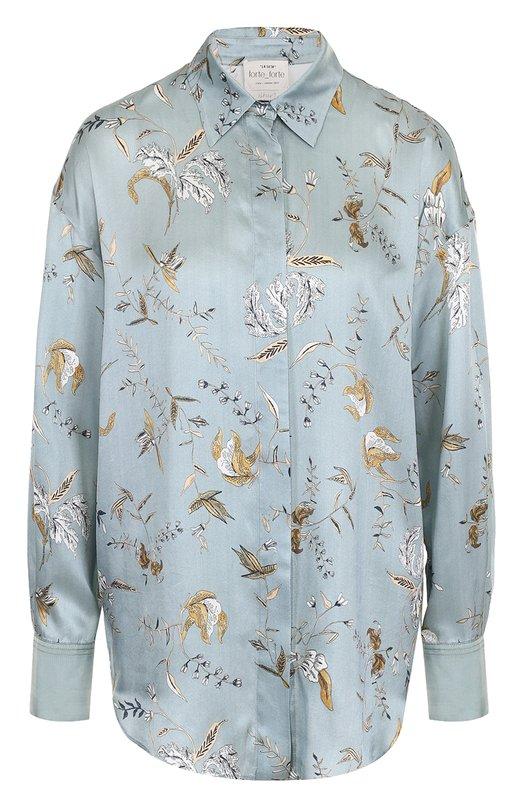 Купить Шелковая блуза свободного кроя с принтом Forte_forte, 5283, Италия, Голубой, Шелк: 100%;