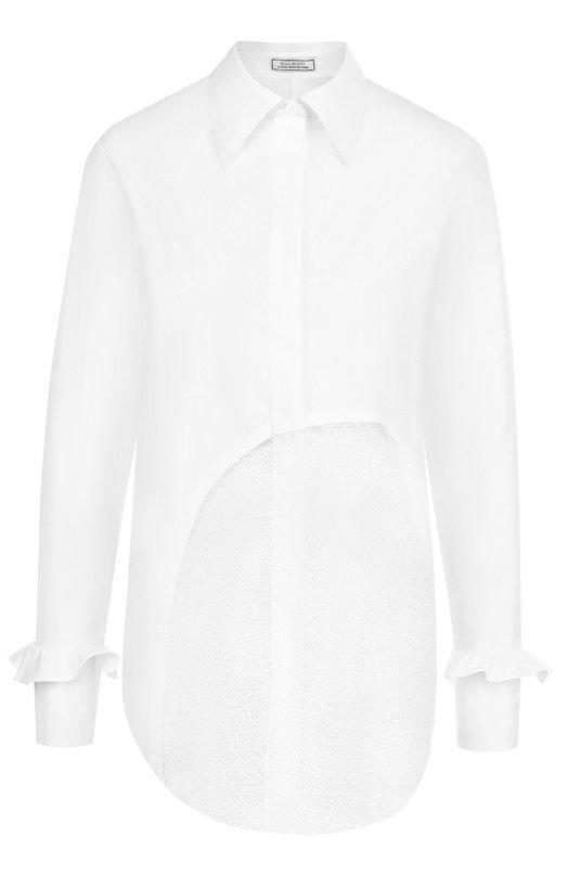 Купить Хлопковая блуза прямого кроя с кружевной вставкой Nina Ricci, 17ACT0027C00844, Мадагаскар, Белый, Вискоза: 51%; Полиамид: 49%; Хлопок: 100%;