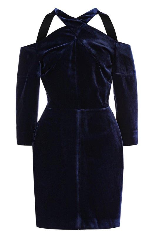 Купить Приталенное бархатное мини-платье Roland Mouret, AW17/S0086/F6021, Великобритания, Синий, Вискоза: 82%; Шелк: 18%; Подкладка-шелк: 100%;