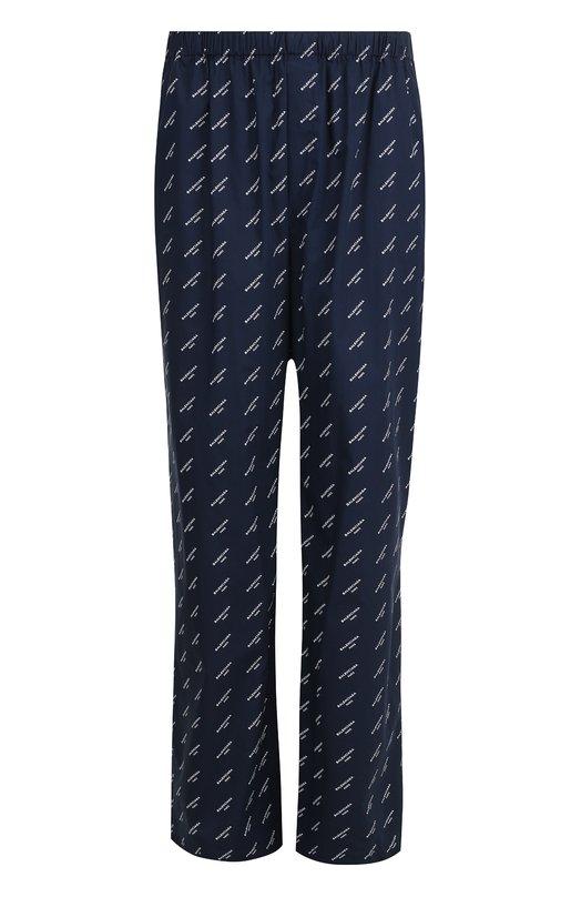 Купить Хлопковые брюки свободного кроя с поясом на резинке Balenciaga, 486232/TWA08, Италия, Темно-синий, Хлопок: 100%;