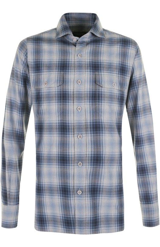 Купить Хлопковая рубашка в клетку Tom Ford, 2FT757/94PIFT, Румыния, Синий, Хлопок: 100%;