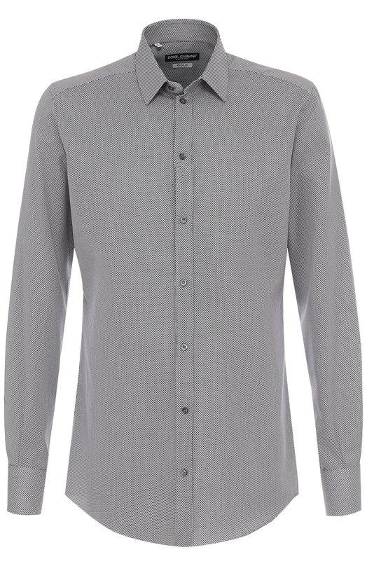 Купить Хлопковая сорочка с воротником кент Dolce & Gabbana, 0101/G5EJ0T/FM5FL, Италия, Черно-белый, Хлопок: 100%;