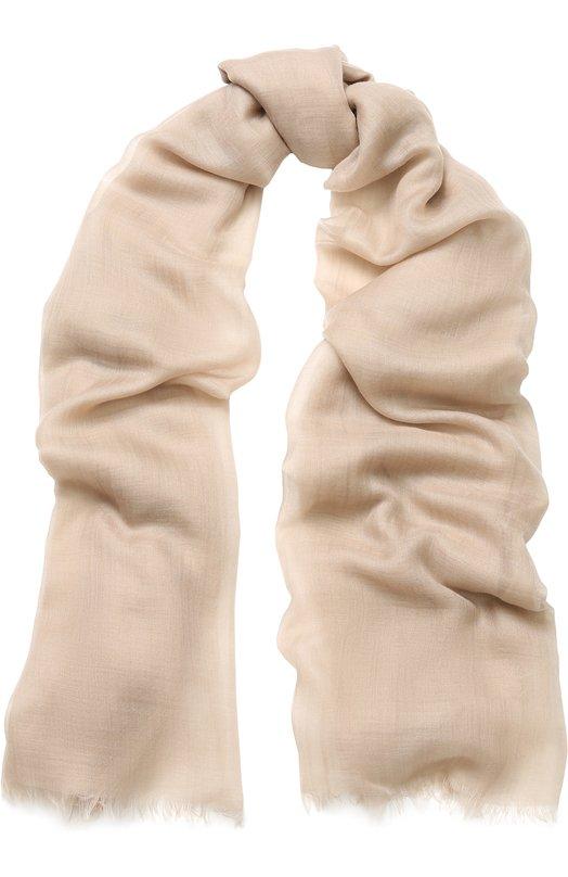 Купить Кашемировый шарф Fil And Fil с необработанным краем Loro Piana, FAG3858, Италия, Бежевый, Кашемир: 100%;
