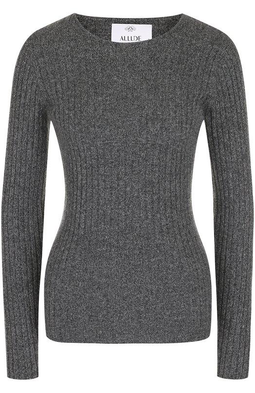Купить Кашемировый пуловер фактурной вязки Allude, 17510/001050, Китай, Серый, Кашемир: 100%;