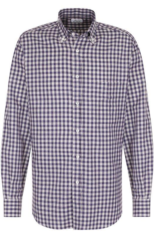 Купить Хлопковая рубашка в клетку с воротником button down Brioni, SC02/0603S, Италия, Фиолетовый, Хлопок: 100%;