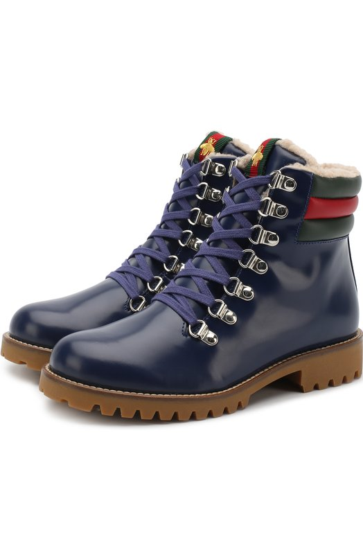 Купить Кожаные ботинки на шнуровке Gucci, 484447/D7330, Италия, Синий, Кожа натуральная: 100%; Подошва-резина: 100%; Стелька-текстиль: 100%;