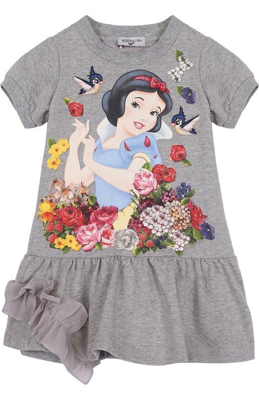 Хлопковое мини-платье с принтом и оборкой Monnalisa