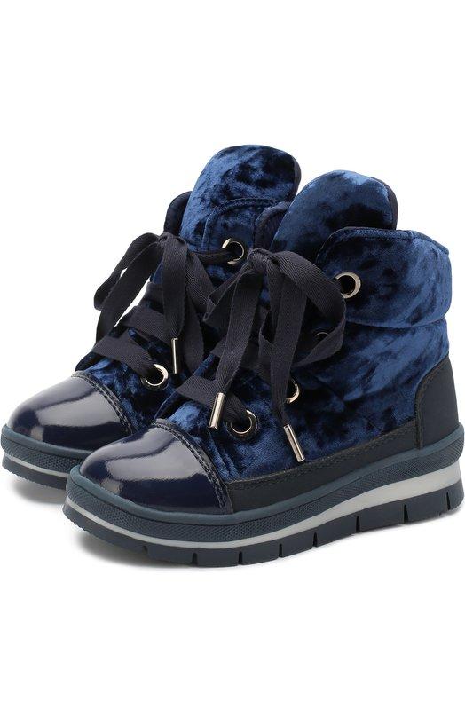 Купить Ботинки с текстильной отделкой на шнуровке Jog Dog, 14007R/ZAFFTU0N0CINIGLIA/29-31, Румыния, Синий, Текстиль: 75%; Пластмасса: 25%; Подошва-резина: 100%; Стелька-текстиль: 100%;