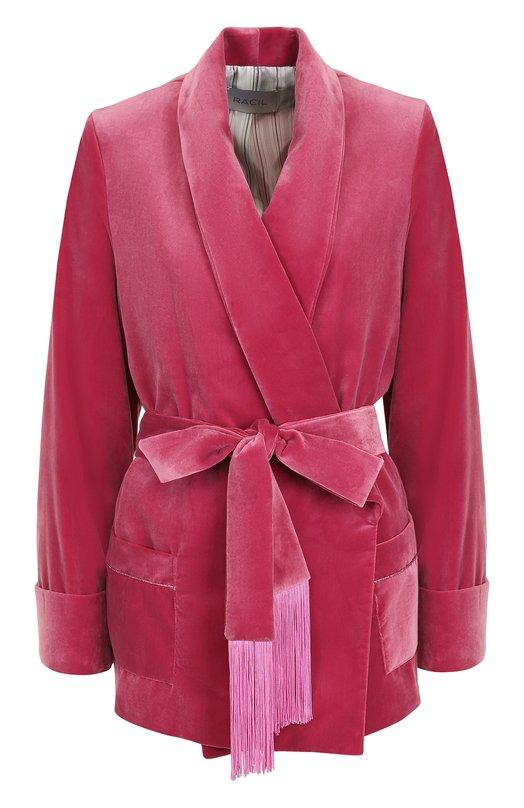 Купить Бархатный жакет с поясом и бахромой Racil, RS5-J14, Великобритания, Розовый, Подкладка-вискоза: 90%; Полиэстер: 100%; Подкладка-купра: 10%;