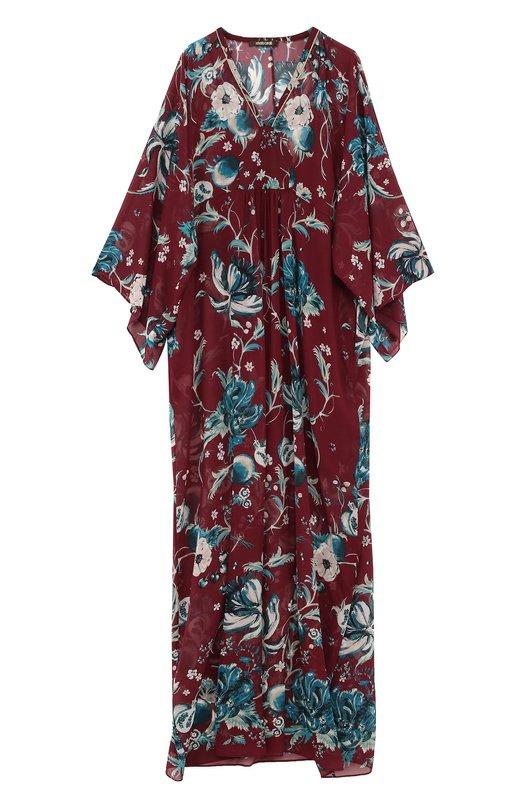 Купить Шелковое платье-макси с принтом Roberto Cavalli, FQT124/GFF62, Италия, Бордовый, Шелк: 100%; Подкладка-шелк: 100%;