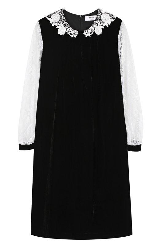 Купить Бархатное мини-платье с кружевными рукавами Blugirl, 22368, Италия, Черно-белый, Вискоза: 80%; Полиамид: 20%; Подкладка-полиэстер: 100%;