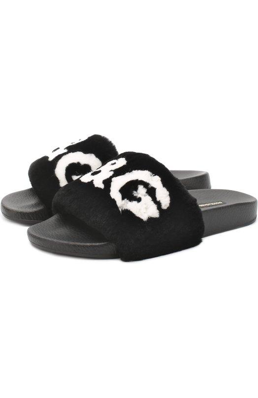 Купить Шлепанцы с отделкой из меха кролика Dolce & Gabbana, 0112/CW0047/AM806, Италия, Черный, Подошва-резина: 100%; Мех/кролик/: 100%; Стелька-резина: 100%;