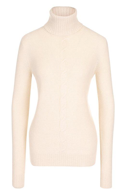Купить Кашемировый свитер прямого кроя с высоким воротником Loro Piana, FAF8380, Италия, Кремовый, Кашемир: 100%;