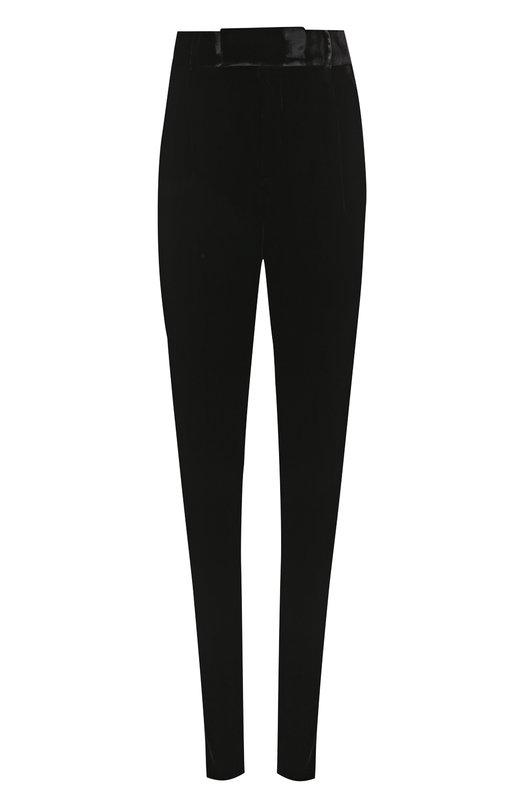 Купить Бархатные брюки прямого кроя с завышенной талией Saint Laurent, 489496/Y525R, Италия, Черный, Вискоза: 65%; Купра: 35%;