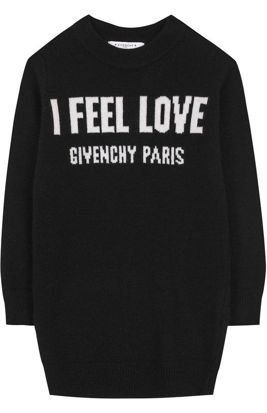 Купить Мини-платье из шерсти и кашемира с принтом Givenchy, H12003, Италия, Черный, Шерсть: 70%; Кашемир: 30%;