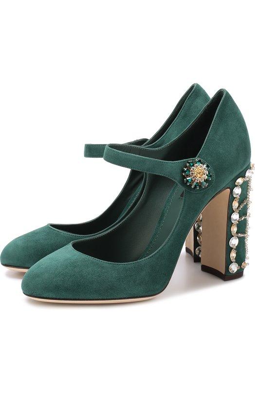 Купить Замшевые туфли Vally на декорированном каблуке Dolce & Gabbana, 0112/CD0630/AI884, Италия, Темно-зеленый, Стелька-кожа: 100%; Подошва-кожа: 100%; Замша натуральная: 100%;